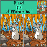 Children games: Find differences. Little cute mouse. Stock Photography