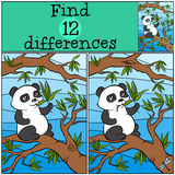 Children games: Find differences. Little cute panda. Children games: Find differences. Little cute panda sits on the tree and eats leaves Royalty Free Stock Photos