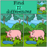Children games: Find differences. Little cute pig. Children games: Find differences. Little cute pig stands in the forest near the pond and smiles Royalty Free Stock Photo
