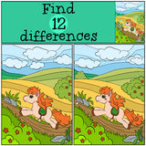 Children games: Find differences. Little cute pony. Stock Photo