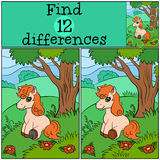 Children games: Find differences. Little cute pony. Stock Image