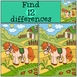 Children games: Find differences. Little cute pony. Royalty Free Stock Image