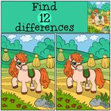 Children games: Find differences. Little cute pony. Royalty Free Stock Images