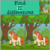 Children games: Find differences. Little cute pony. Stock Photography