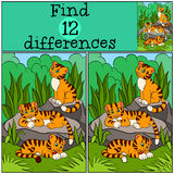 Children games: Find differences. Little cute tigers. Stock Images