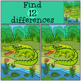 Children games: Find differences. Mother alligator. With her little cute baby alligator in the back Stock Images