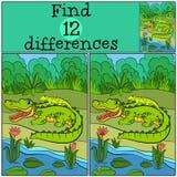 Children games: Find differences. Mother alligator Stock Images