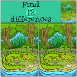 Children games: Find differences. Mother alligator looks at her liitle cute baby alligator in the egg Royalty Free Stock Photos