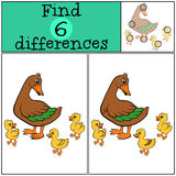 Children games: Find differences. Mother duck with little cute ducklings. Children games: Find differences. Mother duck with three little cute ducklings Royalty Free Stock Photo