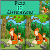 Children games: Find differences. Mother fox sits with her little cute baby. Royalty Free Stock Photo