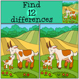 Children games: Find differences. Mother goat with her baby. Stock Photography