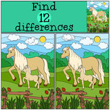 Children games: Find differences. Mother horse with foal. Stock Photos