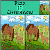 Children games: Find differences. Mother horse with foal. Royalty Free Stock Photos