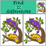 Children games: Find differences.. Two little cute chameleons sits on the tree branch and smiles Royalty Free Stock Photography