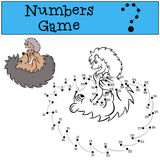 Children games: Number game. Mother hedgehog with little cute baby hedgehog. Dots with contour Stock Image