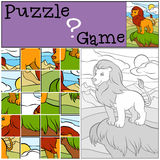 Children games: Puzzle. Cute beautiful lion. Royalty Free Stock Photography