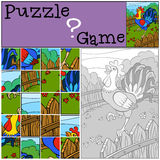 Children games: Puzzle. Cute beautiful rooster. Royalty Free Stock Photography