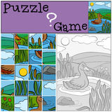 Children games: Puzzle. Cute duck. Children games: Puzzle. Cute duck swims in the pond Royalty Free Stock Photography