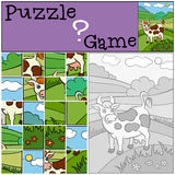 Children games: Puzzle. Cute spotted cow. Royalty Free Stock Image