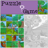 Children games: Puzzle. Little cute duck. Children games: Puzzle. Little cute duck runs from the pond Royalty Free Stock Photo