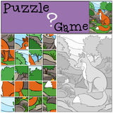 Children games: Puzzle. Little cute fox. Royalty Free Stock Photos