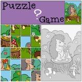 Children games: Puzzle. Little cute hedgehog. Stock Photo