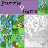 Children games: Puzzle. Little cute monkey. Stock Image