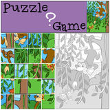 Children games: Puzzle. Little cute monkey. Royalty Free Stock Photos