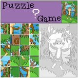 Children games: Puzzle. Little cute monkey. Stock Photography