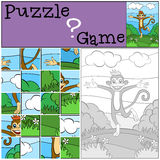 Children games: Puzzle. Little cute monkey. Royalty Free Stock Photography