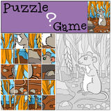 Children games: Puzzle. Little cute mouse. Royalty Free Stock Photos