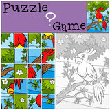 Children games: Puzzle. Little cute parrot. Royalty Free Stock Image