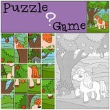 Children games: Puzzle. Little cute pony. Royalty Free Stock Photography