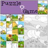 Children games: Puzzle. Little cute sheep. Stock Photo