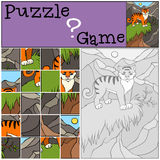 Children games: Puzzle. Little cute tiger. Royalty Free Stock Photo