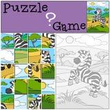 Children games: Puzzle. Little cute zebra. Royalty Free Stock Photos