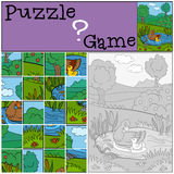 Children games: Puzzle. Mother duck with her cute duckling. Stock Photos