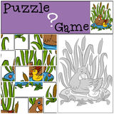 Children games: Puzzle. Mother duck with her duckling. Children games: Puzzle. Mother duck swims with her liitle cute duckling Royalty Free Stock Images