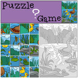 Children games: Puzzle. Mother duck. Children games: Puzzle. Mother duck with her little cute ducklings Royalty Free Stock Image