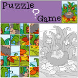 Children games: Puzzle. Mother hedgehog and baby hedgehog. Royalty Free Stock Photo