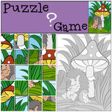 Children games: Puzzle. Mother hedgehog. Stock Photo