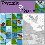 Children games: Puzzle. Two little cute ducks. Royalty Free Stock Photos