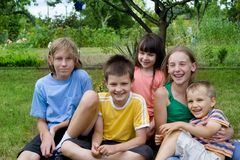 Children in garden Stock Photo