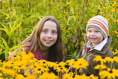 Children  in garden Royalty Free Stock Photo