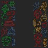 Children garden, Patern, Hand drawn children garden elements pattern, doodle illustration, Vector, illustration. royalty free illustration