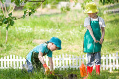 Children gardening and watering Stock Images