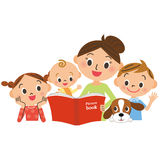 Children gathering for mother reading a picture book Stock Photography