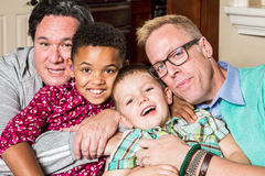 Children with Gay Parents. Gay parents and their children pose for a photo Royalty Free Stock Photography