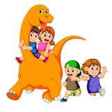 The children get into the big apatosaurus`s body and playing with it some of the children run beside him vector illustration