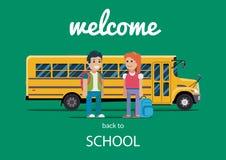 Children get on school bus. Vector flat illustration Royalty Free Stock Image